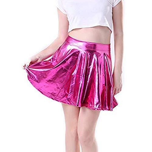 Kostüm Crayon Box Für Erwachsene - BHYDRY Damenmode Leder ausgestelltes gefaltetes a-line Kreis-Kostüm Skater-Tanzrock(X-Large,Pink)