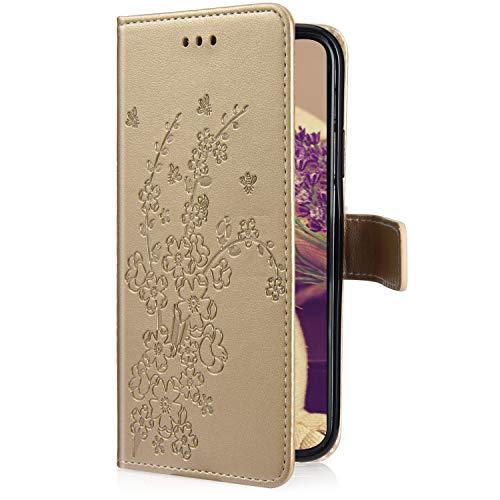 Uposao Kompatibel mit Xiaomi Redmi 6 Pro Handyhülle Hülle Flipcase Blumen Muster Flip Wallet Schutzhülle Bookstyle Handytasche Leder Tasche Klapphülle Case Magnetverschluss Kartenfach,Gold