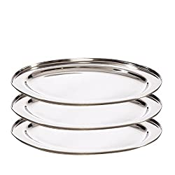 3 er Set stainless steel serving tray 39 x 26 cm Professional quality for parties or for decoration