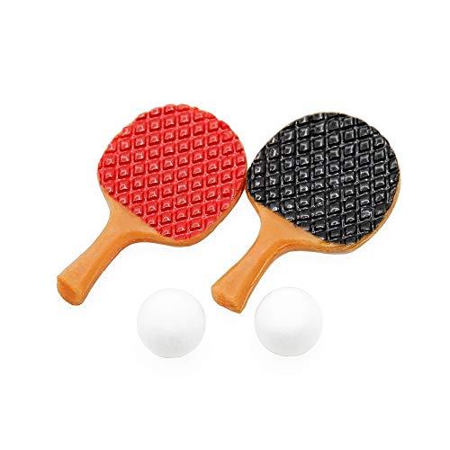 Odoria 1/12 Miniatur Tischtennis-Set 2 Schläger + 2 Bälle Puppenhaus Dekoration Zubehör