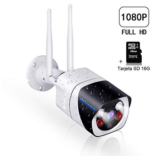 SZSINOCAM Cámara Vigilancia Exterior WiFi,1080P Camaras de Vigilancia con  Visión Nocturna,Cámaras IP CCTV Impermeable IP66, Detección de