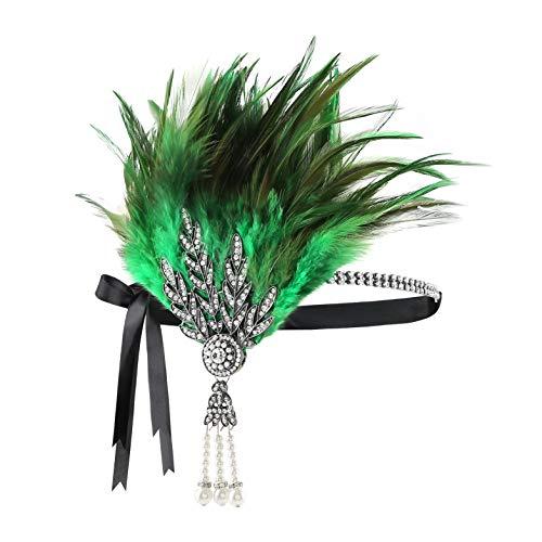 Metme Damen 1920s Stirnband Pfau Feder 20er Jahre Stil Flapper Haarband Inspiriert von Great Gatsby Damen Kostüm Accessoires (Grün ()