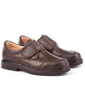 ANGELITOS Zapatos Colegiales con Puntera Reforzada Todo Piel, Mod.452. Calzado infantil (Talla 27 - Marrón Chocolate)