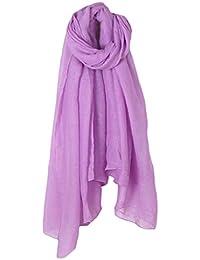 GROOMY Femmes Couleur Unie Longue Écharpe Wrap Coton Vintage Lin Grand Châle  Hijab Élégant - Violet 5011d5b28fc