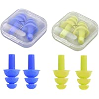 Earplugs Blue Ear protection Reusable Silicone Foam in Earplugs Waterproof Noise & reduction with storage mini Travel box (Green) by Hayatec