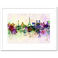 PAINTING CITYSCAPE PAINT SPLASH SKYLINE GLASGOW FRAMED PRINT F12X4695