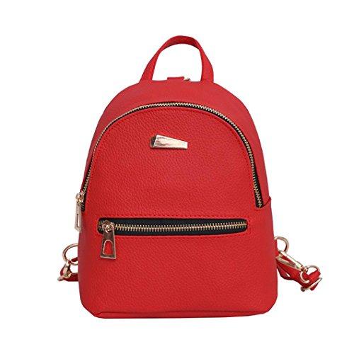 Vicgrey  donna marea moda casual solido colore zaino borsa nuovo zaino viaggio borsa scuola zaino (rosso)