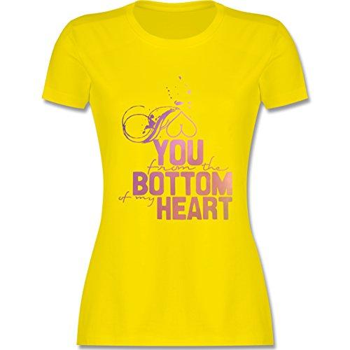 Statement Shirts - I love you from the bottom of my heart - tailliertes Premium T-Shirt mit Rundhalsausschnitt für Damen Lemon Gelb
