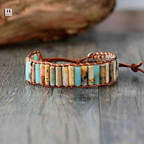 CMAO Boho Tube Shape Naturstein Onyx Single Leder Wickelarmband Einzigartige Naturstein Perlen Armreif Dropshipping,Top Fashion