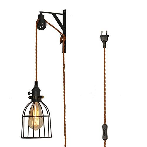 TANGSHI Vintage Industrial Lámpara de Pared en forma de Jaula Retro Estilo Edison Luz Colgante Para...