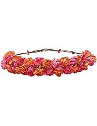 Sanjog Rosie Peach Pink Floral Adjustable Tiara Crown Headband For Women