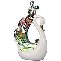 Scultura Moderna Cigno in ceramica bianca/multicolore Altezza 31,5 larghezza cm 20 cm - 1430 Car