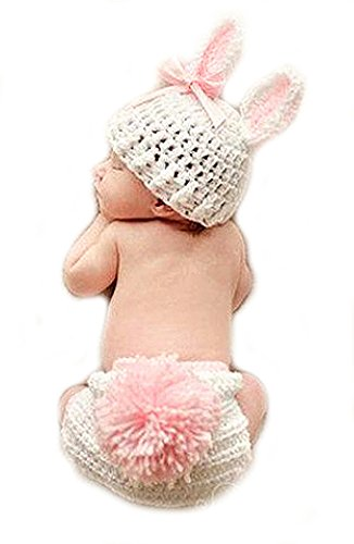 Baby Häkelkostüm Fotoshooting Babyfotos Bunny Hase Weiß Rosa Schleife (BK050)
