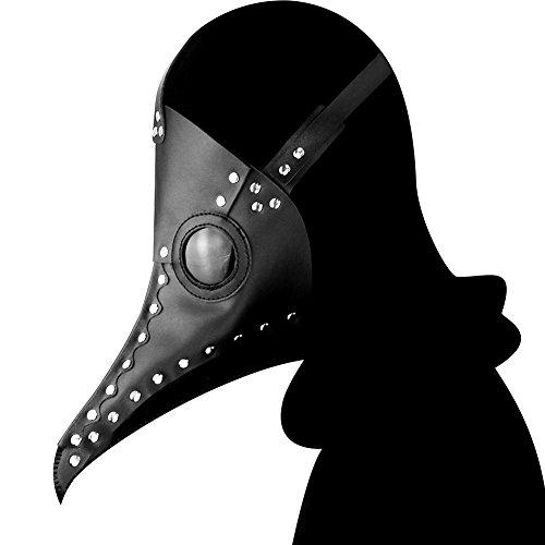 (Steampunk Pest Doktor Bird Maske Lange Nase Schnabel Cosplay Punk Halloween Kostüm Requisiten Phantom der Oper Vintage Schwarz/Weiß Mechanische Männer Venezianische Maske,Black)