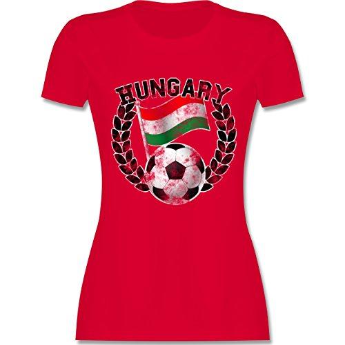 EM 2016 - Frankreich - Hungary Flagge & Fußball Vintage - tailliertes Premium T-Shirt mit Rundhalsausschnitt für Damen Rot