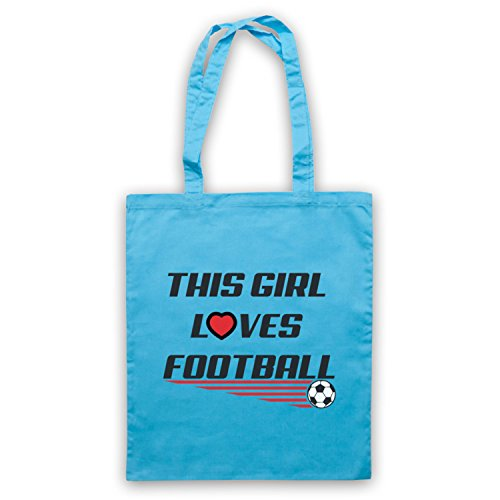 This Girl Loves Football Football Slogan Umhangetaschen Hellblau