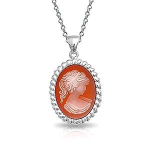 Bling Jewelry Vintage-Stil Rosa Pfirsich Craved Viktorianischen Lady Cameo Anhänger 925 Silber Kette Mit Anhänger Für Damen Für Oma