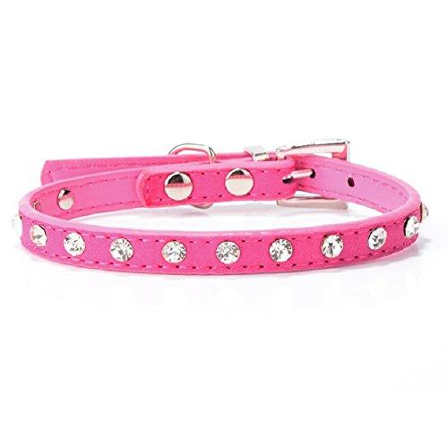 Malloom® Strass Einstellbar Leder Hund Welpen Katze Halsbänder Halskette Hals (heiß rosa) - 2
