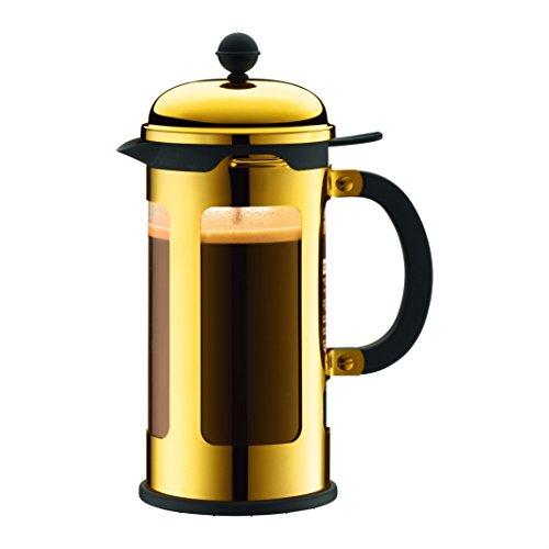 Bodum New Chambord Kaffeebereiter 8 Tassen, Chrom, Gold, cm, 10.7 x 17.5 x 25 cm, 1 Einheiten