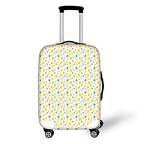 Travel Luggage Cover Suitcase Protector,Geometric,Various Sized Dotted Pattern with Vibrant Tropical Inspirations Holiday Decorative,Seafoam Yellow White,for TravelM 23.6x31.8Inch