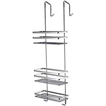 CHROME 3 TIER CURVED HANGING OVER THE DOOR SHOWER CADDY CUBICLE TIDY ...