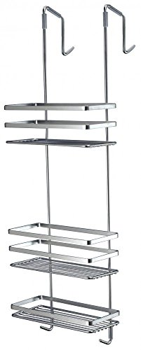 Hillington Chrome Bathroom Shower Caddy - Sleek Organiser Rack Design with a Stunning Chrome Finish - Choose from 2 Tier or 3 Tier Shelved Corner Wall Mounted or 3 Tier Over the Door Hanging Shelf Designs – Great Additional Storage Basket for Shampoo, Soa