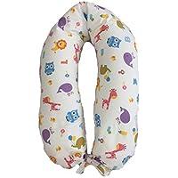 Merrymama -Cuscino allattamento e gravidanza + fodera con lacci/cm 190 (imbottito in pula di farro biologica)