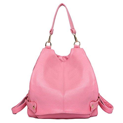 Temperament-Schulterbeutel Beiläufiger Art Und Weisedamen Rucksack-Reißverschluss-Schulterbeutel Pink