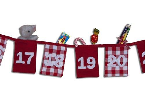 100% Baumwolle Weihnachten Countdown Adventskalender - 24 Taschen - The Cotton Bunting Company