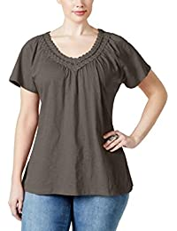 4ea1bb8da92 Karen Scott Plus Size Crochet V-Neck Tee