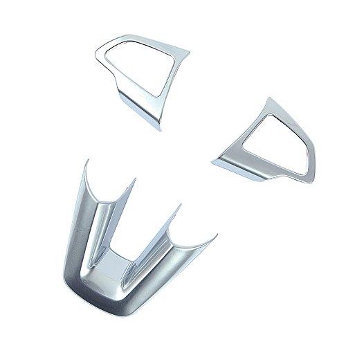 BeHave Fx180 W Volant de Voiture Cadre Décoratif, en Matériau de Chrome, Volant de Voiture Bouton Cover, Automobile Intérieur Accessoires, 3 Pièces (Argent)