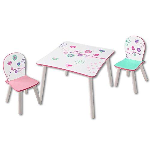 Sitzgruppe Kinder Flowers oder Dinosaurier - Kindersitzgruppe - 1 Tisch und 2 Stühle (Flowers)