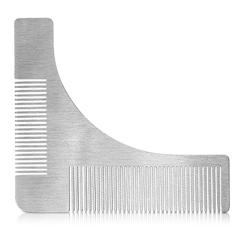kwmobile Plantilla para cortar barba de acero inoxidable - Peine guía para recortar barba - Molde para igualar asear y dar forma a la barba