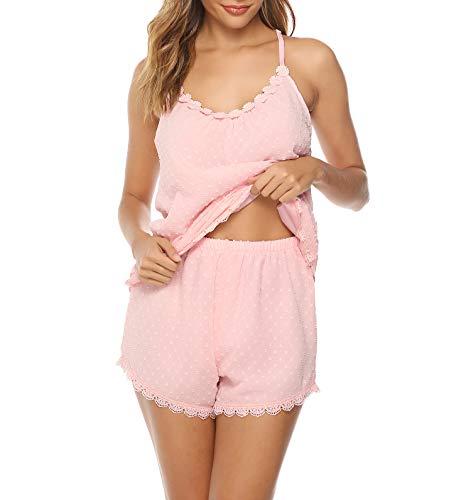 Nachtwäsche Damen Schlafanzug Kurz Pyjama Shorty Spitzen Sleepwear Sets Zweiteilige Mit Verstellbaren Trägern - Rosa Kurzer Schlafanzug