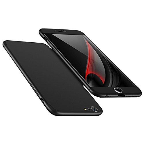 iPhone 6 6S Hülle, 3 in 1 Ultra Dünner PC Harte Case 360 Grad Ganzkörper Schützend Anti-Kratzer Schutzhülle Vollschutz Hülle für Apple iPhone 6 / 6S 4.7 zoll Fall Premium mattierte Schutzharte Komplet Schwarz