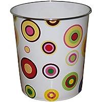 JVL - Papelera (plástico, 25 x 26,5 cm), diseño de círculos, multicolor