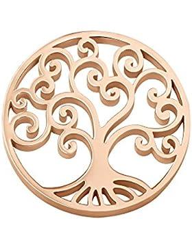 Quiges Edelstahl Coins 25mm Small Rosegold Lebensbaum für Coin Anhänger Small