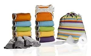 Close Pop-In Lot de 10 couches lavables en microfibre avec accessoires Multicolore