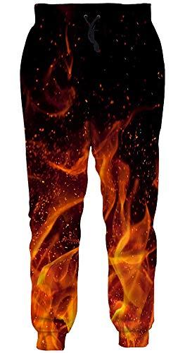 Loveternal Bunte Sweatpants Unisex Flamme Hosen 3D Druck Pants Coole Jogginghose für Frauen Männer M
