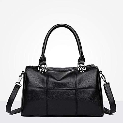 wangkk Damen Tasche Nähen Messenger Bag Aus Weichem Leder Wild Handtasche Handytasche Geldbörse, Schwarz