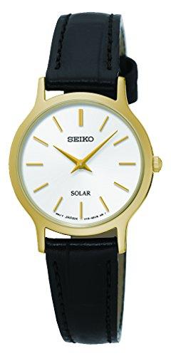 Seiko Damen Analog Solar Uhr mit Leder Armband SUP300P1 - Uhr Solar Seiko Damen