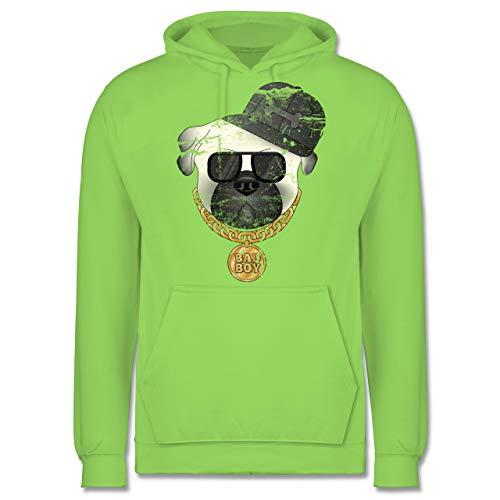 Shirtracer Hunde - Bad Boy Mops Vintage - 3XL - Limonengrün - JH001 - Herren Hoodie