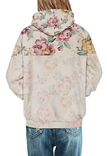 Pretty321 Women Girl Floral Flower Print Beautiful Sweatshirt Hoodie with Pockets Amazon