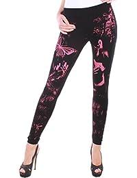 Damen Leggings schwarz mit Print in 6 Farben