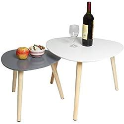 Lot de 2 Tables Basses Rétro Triangle Table d'appoint Tables Gigognes Scandinaves Table d'appoint Moderne multifonctionnelle pour Bureau, Cuisine, Salon (Blanc+Gris)