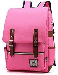 tininna Homme Vintage Toile Sacs à dos Back Pack Sac à dos femme Sac à dos Cartable Sac à Dos Scolaire Sac à dos de loisirs Hot Pink
