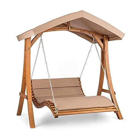 Blumfeldt Bermuda Balancelle de jardin • Construction en poutres de mélèze massif • Voile d'ombrage protégeant contre les rayons du soleil • Rembourrage épais de 5 cm pour une assise moelleuse • Protection solaire en tissu polyester imperméable