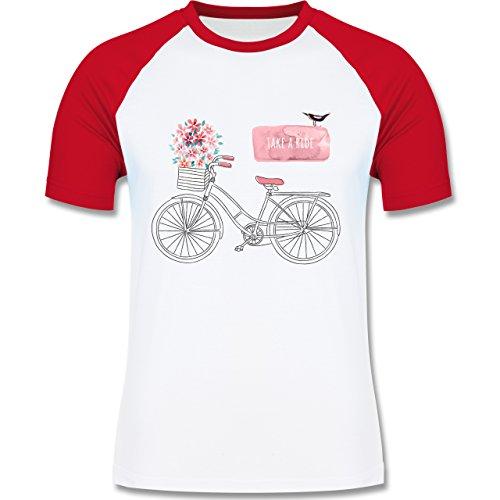 Vintage - Fahrrad Take a ride Watercolour - zweifarbiges Baseballshirt für Männer Weiß/Rot