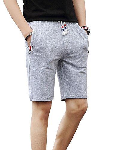 Da uomo A vita bassa Divertente Vintage Semplice Moda città Attivo Media elasticità Chino Pantaloncini Pantaloni,Taglia piccolaTinta gray