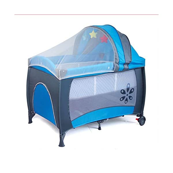 Mr.LQ Multifunctional Foldable Crib Portable Game Bed,Red  [Folded Baby Cot]Due to its folding design, you can take it to anywhere as you like by packing it in the supplied carry bag, and it just takes you a while to fold or unfold it before using. [See-through safety mesh]It features mesh cloth on both sides, this netted areas allow your baby to see out clearly as well as an onlooker to see in to her/him, and it also offers great ventilation for your baby. [Easy to Move] It designed in two wheels and two legs, you can move it around easily without any problems with the help of two wheels, and there is no issue to worry the stability due to the two sturdy legs. 6